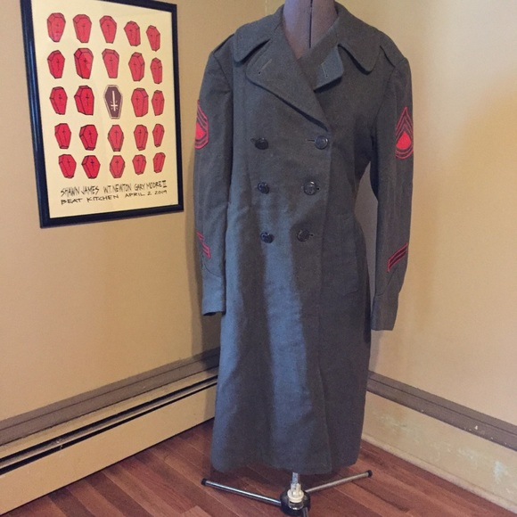Vintage Other - VTG WWII Military Issue Wool Winter Coat